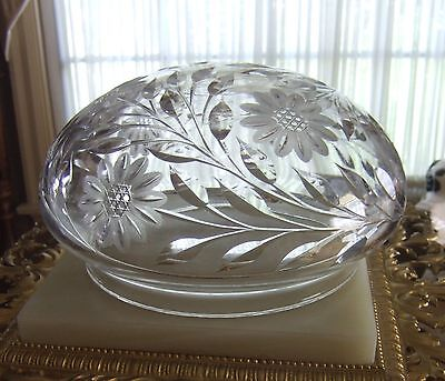 A Vintage Crystal Dome Light Shade With A Cut Floral Design!