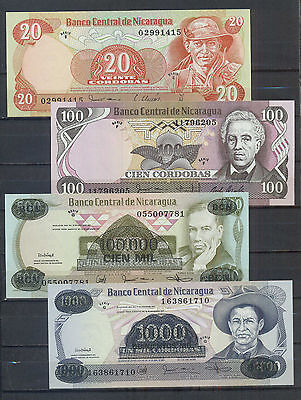 Nicaragua Lot of 8 banknotes UNC