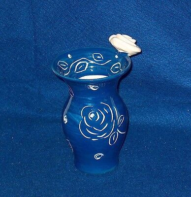 Mary Rose Young Pottery Vase With White Rose Signed And Dated 2015