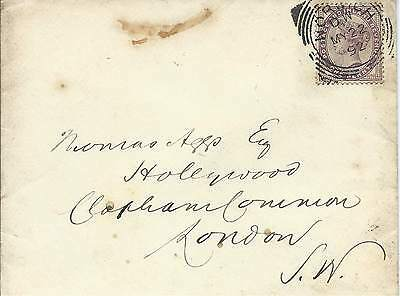 GB 1892 1d Lilac Cover with Norwich Squared Circle to Clapham Common London