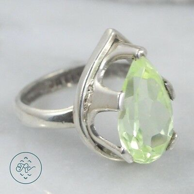 Vintage Sterling Silver | MEXICO Pear Cut Green Crystal Cocktail 5g | Ring (6.5)