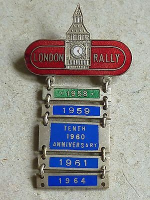 Vintage Enamel Badge London Rally Competitors Badge 1958 - 1964