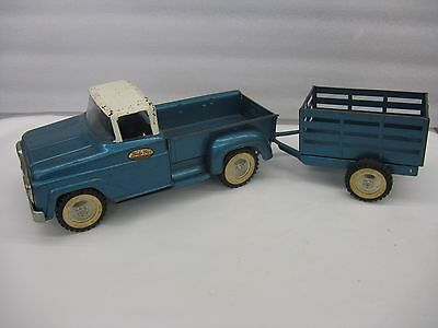 Vintage Tonka 1950's or 1960's  pickup and stake trailer