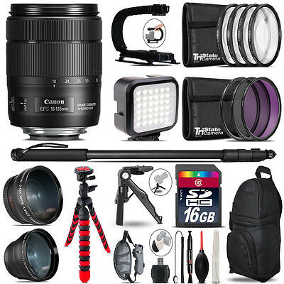 Canon EFS 18-135mm IS USM -Video Kit + LED KIt + Monopad - 16GB Accessory Bundle