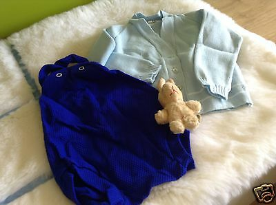 Authentic Vintage Infant Baby Boys/girls Romper/cardigan  3/9 Months 70S Unused