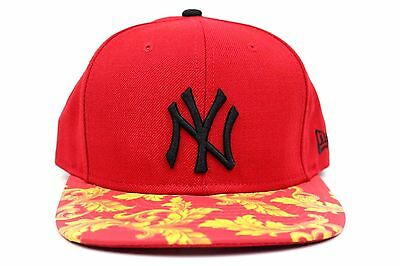 829bc8eb83f New York Yankees Red Yellow Wreath Visor New Era Original Fit Strapback Hat  Cap