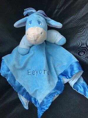 Disney Eeyore Plush Lovey Security Blanket Donkey Winnie the Pooh Blue Trim