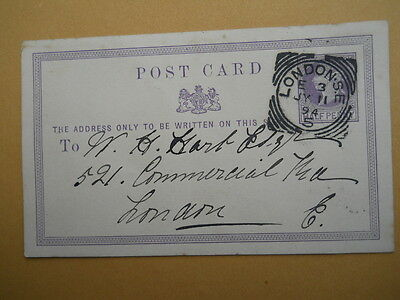 Postcard printed with Half Penny QV Stamp, London Squared Circle Postmark, 1894