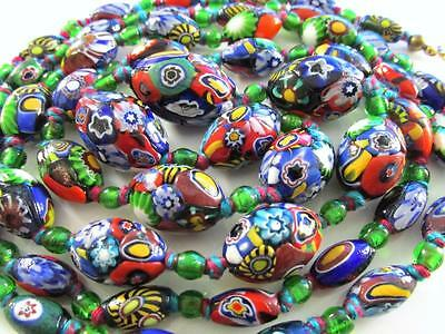 Vintage Victorian Deco Venetian Millefiori Glass Olive Beads Long Necklace 52""
