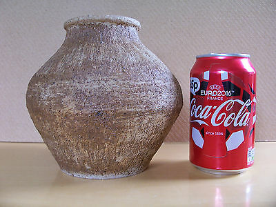 Hand Made Roughly Textured Stoneware Studio Pottery Vase or Pot - Signed.