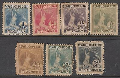 Caribbean Island Telegraph Stamps Barefoot #104-10 mint/unused set 1916 cv $317