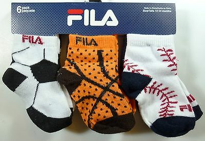 6 Pairs Boys Girls Fila Toddlers Infant Multicolor Cotton Socks Size 12-24M F451