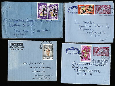 Nigeria 3 Air Letters ( 2 Front Only) + One Cover Fine Used To Usa. A54