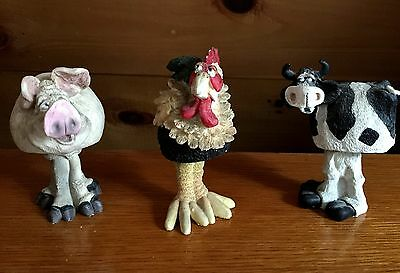 THREE Douglas Unsigned Farm Animal Nodders / Bobbleheads /  Pig ~ Rooster ~ Cow