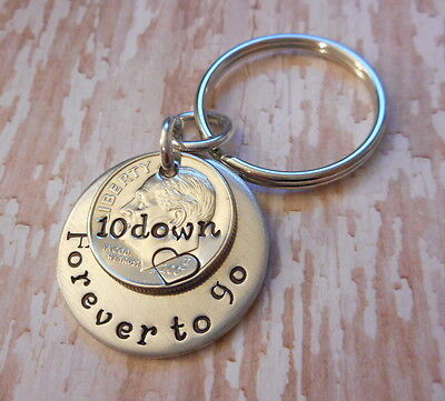 10 Years Down and Forever To Go 2007 Dime Anniversary Key Chain Gift