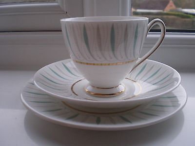 Vintage Queen Anne CAPRICE China Trio Turquoise & Grey Design-Gold Gilt Detail