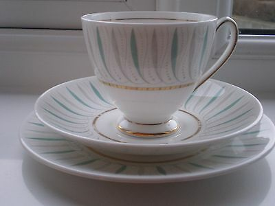 V/R Queen Anne CAPRICE China Trio Turquoise & Grey Design with Gold Gilt Detail