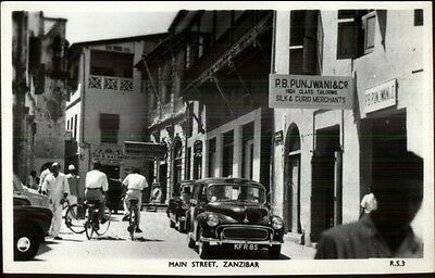 Main St. in Zanzibar - Old Cars - Real Photo Postcard