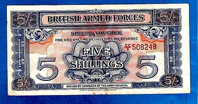 England M20a 5 Shilling ARMED FORCES VOUCHER Red Serial 2nd Series 1948 XF+ RARE