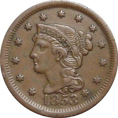 1853 Braided Cent--VF/XF Details