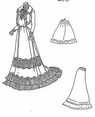 "25""antique Fashion/gibson Girl/lady Doll Visiting Dress&jacket&jabot Pattern"