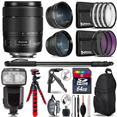 Canon 18-135mm IS USM - 3 Lens Kit + Professional Flash - 64GB Accessory Bundle