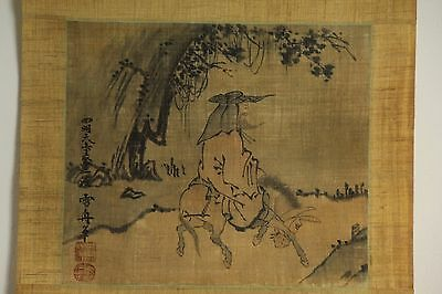 "Japanese Antique Hanging Scroll ""hermit On The Horse""by Sesshu W/box Jun052"