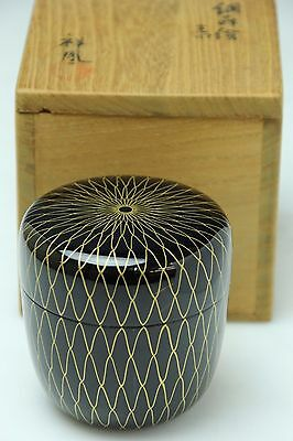 Japanese Wood Lacquer Natsume Tea Caddy Gold Net Design Makie W/signed&box  M192