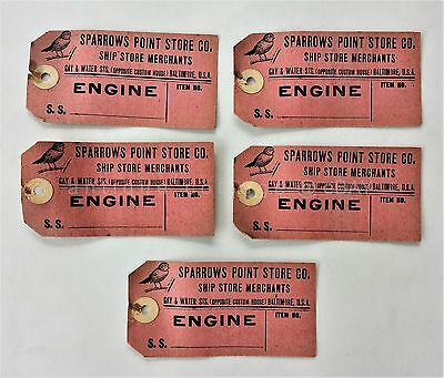 LOT antique 5pc SPARROWS POINT STORE CO baltimore md SHIP STORE TAGS unused