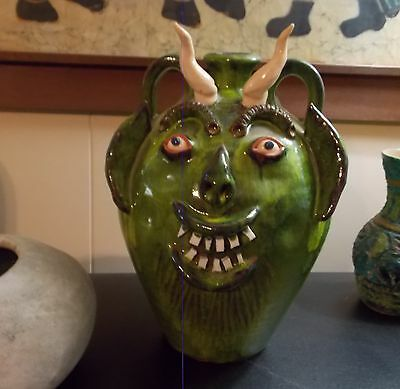 AV SMITH Large Green Horned Art North Carolina Pottery Face Jug  Alvie L Smith