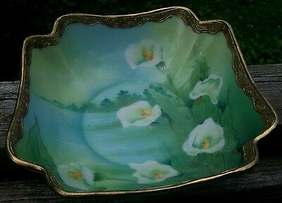 Darling Hand-Painted Nippon Lillies In Glade Cabinet Bowl Raised Gilt Rim C.1920