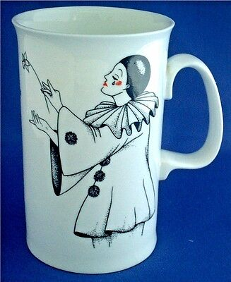 Dunoon Bone China Mug Called Pierrot Featuring Two Clowns By Jackie Reynolds
