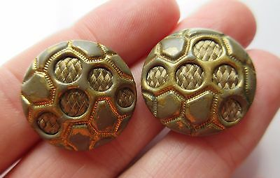 Wonderful Lot of 2 Antique Enameled Metal BUTTONS w/ Encased Woven Blond Hair