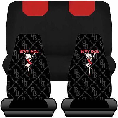 4pc Betty Boop Chainlink Highback Seat Covers & UAA Red & Black Bench Universal