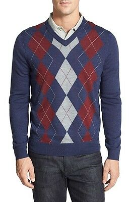 Nordstrom NEW Blue Mens Size 2XL V-Neck Wool Argyle Pullover Sweater $79 #388