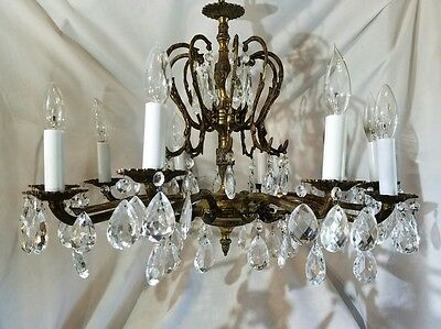 Gorgeous Ornate Vintage 10 Arm Brass & 80 Crystal Chandelier