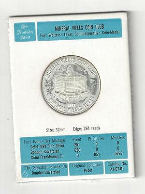 Rare 1967 Franklin Mint Mineral Wells Fort Wolters Texas Helicopter Coin Medal