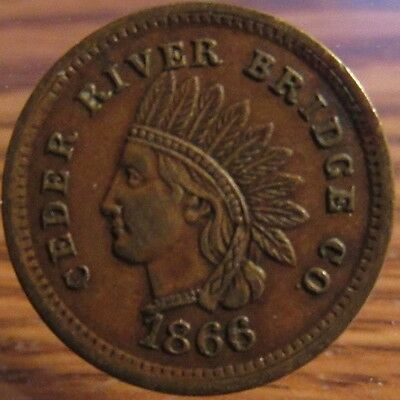 1866 Ceder River Bridge Co. One Footman Cedar Rapids, IA Transit Toll Token Iowa