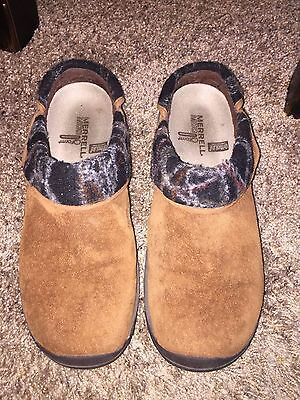 MERRELL Encore Ripple Sport Brown Suede Slip On Mules Clogs Women's Size 9 / 40