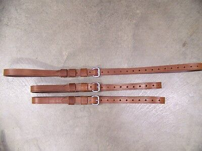 Leather Luggage Straps for Luggage Rack Carrier 3 Set Light Med Brown SS Buckle