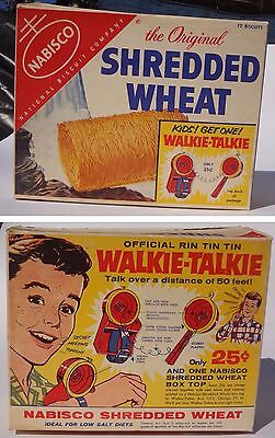 1956 Nabisco Shredded Wheat Cereal Box Rin Tin Tin 1950s Kids toy Walkie Talkie