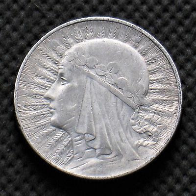OLD SILVER COIN OF POLAND 5 ZLOTY 1933 JADWIGA SECOND REPUBLIC Ag (C)