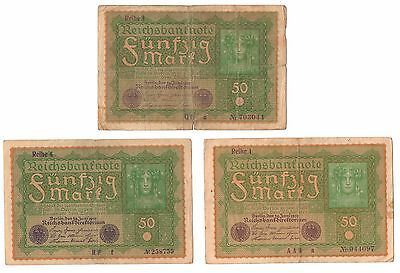 1919 (3) Berlin Germany 50 Mark Reichsbanknotes Circulated