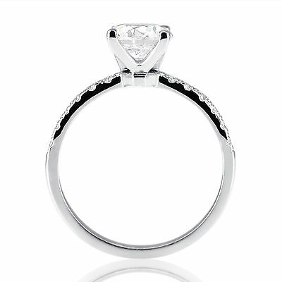 1 CT Natural Diamond Engagement Ring Round Cut D/SI1 18K White Gold
