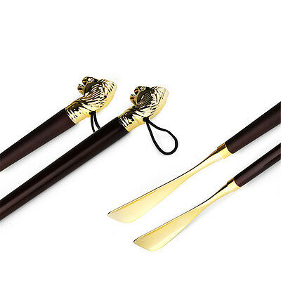 Long Exquisite High-grade Brass Mahogany lion Head Handle Shoe horn