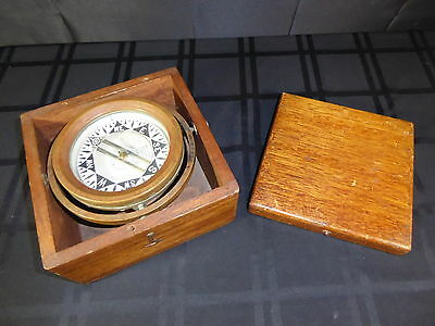 Antique Original D Baker Ship's Brass Nautical Marine Compass(390)