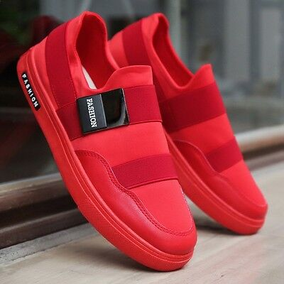 New Men's Casual Flats Skateboard Sports Men Breathable Running shoes-red