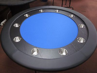 "58"" Round Professional Poker Table + Timber Track +  Fold Up  Leg [Blue Sf]"