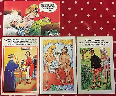Lot 3-Group Of 4 X Old Erotic Humour Postcards.good Condition.