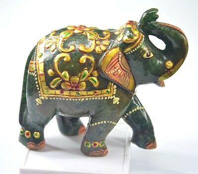 """1728 Ct/3.50"""" Natural Green Aventurine Craving Lucky Elephant Statue~CD6740"""